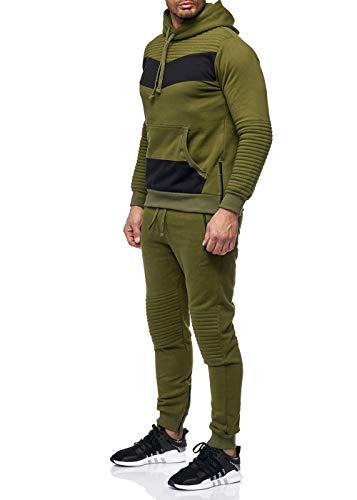 Violento Herren Jogginganzug Jogging Zip Hoodie Hose Stripe Sportanzug Fitness Grün/Schwarz S