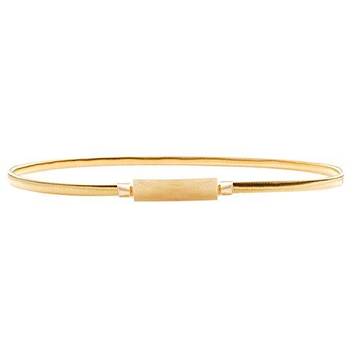 HowYouth Cinturón para mujer dorado Rectangle Gold