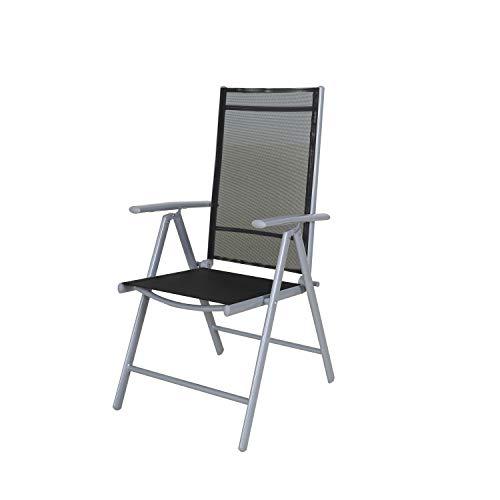 Chicreat - Silla plegable de aluminio con respaldo alto reclinable con 7 posiciones, Plateado/Negro Transparente (set de 2)