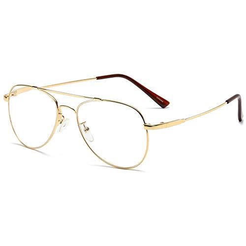 KOOSUFA Lesebrille Pilotenbrille Damen Herren Metallrahmen Lesehilfen Sehhilfe Vintage Mode Groß Brillen Leser 1.0 1.25 1.5 1.75 2.0 2.25 2.5 2.75 3.0 3.5 4.0 (Gold, 1.75)