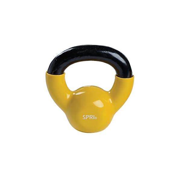 SPRI Kettlebell Weights Deluxe Cast Iron Vinyl Coated Comfort Grip Wide Handle Color...