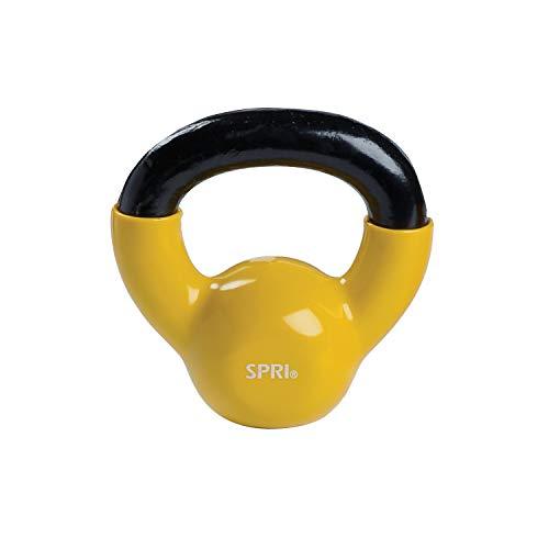 SPRI Kettlebell Weights Deluxe Cast Iron Vinyl Coated Comfort Grip...
