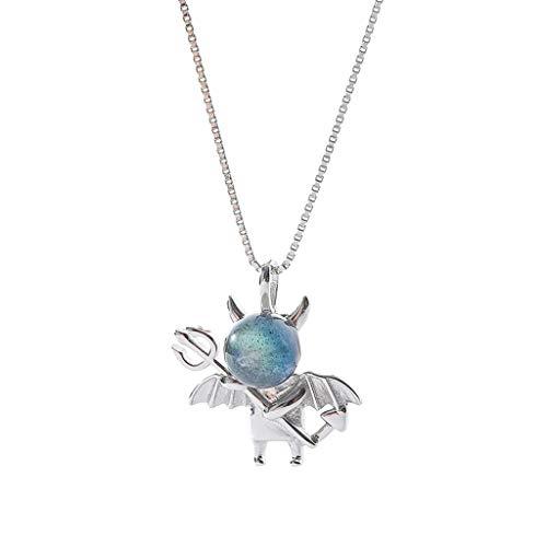 niumanery Little Devil Pendant Necklace Lovely Moonstone Evil Choker Fashion Jewerly Gift