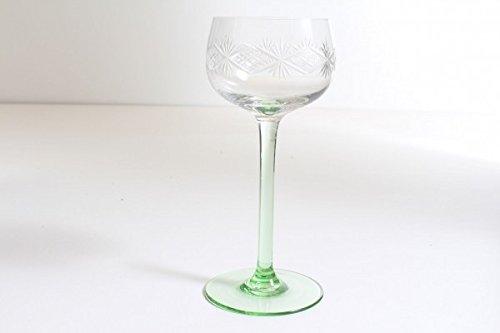 vintage13.de Weinglas Weinkelch Grün mungeblasen Abriß ~1900 Jugendstil Römer Sternschliff