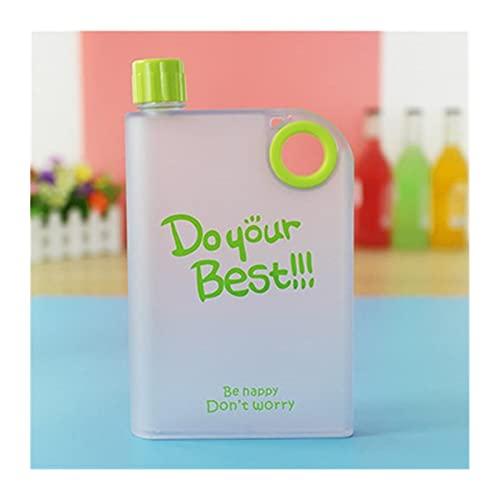 WGDPMGM Botella de Agua 380ml Papel portátil Bartender Jugo Hip Frasco Deportes Plastic para Exteriores My Agua Botella Creativa Cuaderno Botella de Agua (Capacity : 380ml, Color : Green)