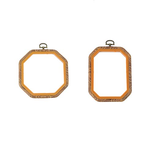 Exceart 2pcs Embroidery Hoops Octagon Shape Cross Stitch Hoops Rings Imitated Wood Display Frames for Art Craft Handy Sewing Hanging 14x14cm/11x15cm