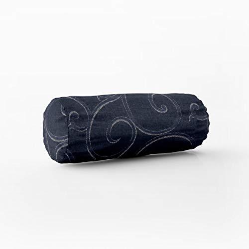SCHÖNER LEBEN. Kissenhülle Ornamente Schnörkel Lurex dunkelblau silberfarbig Verschiedene Größen, Kissenhüllen Größe:15x40cm (ØxB) Nackenrolle