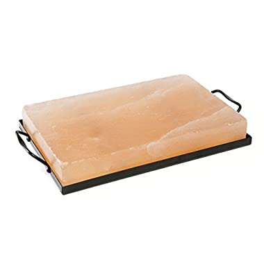 Charcoal Companion CC6064 Himalayan Salt Plate & Holder Set, 12  x 8  x 1.5