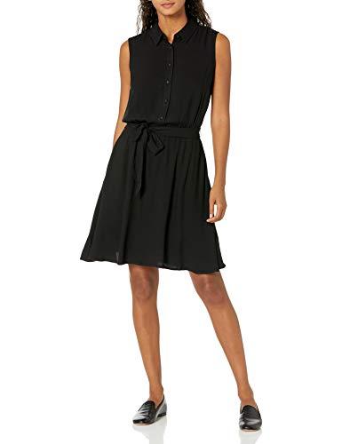 Amazon Essentials Women's Sleeveless Woven Shirt Dress, Black, Small