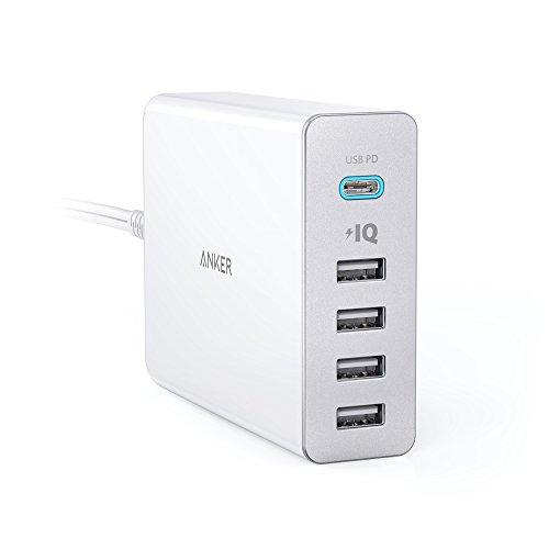 Anker PowerPort+ 5 USB-C Power Delivery (60W 5ポート USB-A & USB-C 急速充電器)【PSE認証済/PowerIQ搭載/PD対応】 iPad Pro (2018, 11インチ) / MacBook/MacBook Air (2018) / iPhone/Android 各種他対応 (ホワイト)