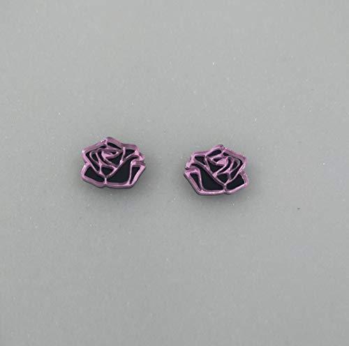 Pendientes Mini Rosa Plata de Ley 925 Regalo Mujer Moda Pendientes Largos Joyeria Mujer