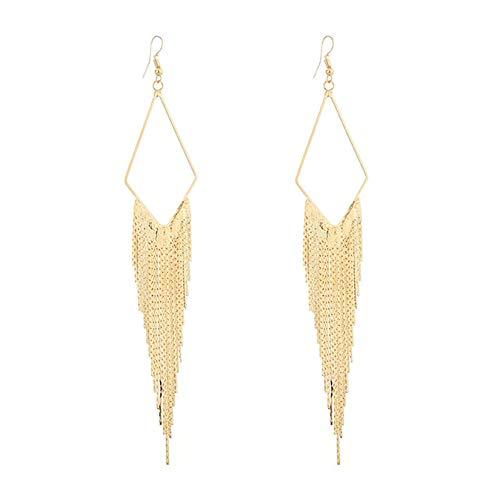 SJHFG Pendientes largos con forma de diamante con borla de cristal, accesorios para decoración de orejas de Navidad, regalo de cumpleaños para mujeres