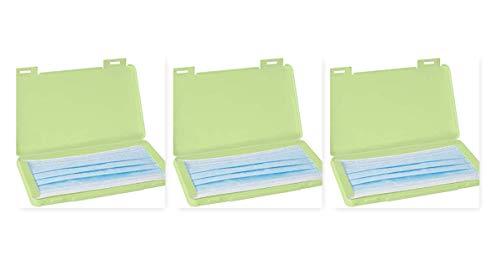 ABM IDEA 3 Contenitori per Mascherine in Plastica (19x11x1 cm) Porta Mascherina 3 unità Scatola Maschera Custodia per mascherine Porta Mascherina (Verde-Verde-Verde)