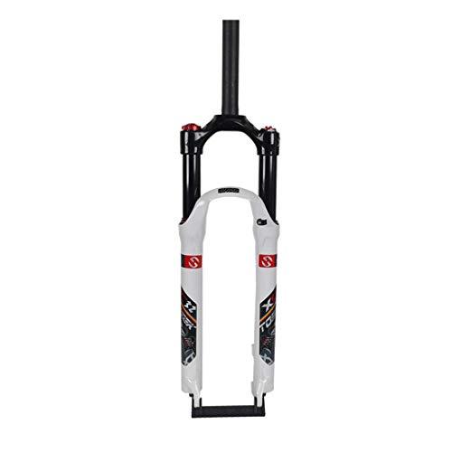 KQBAM Horquilla De Suspensión para Bicicleta De Montaña, Aleación De Aluminio De 1-1/8', Control De Hombro, Freno De Disco, Ajuste De Amortiguación, Recorrido 100 Mm 26/27.5