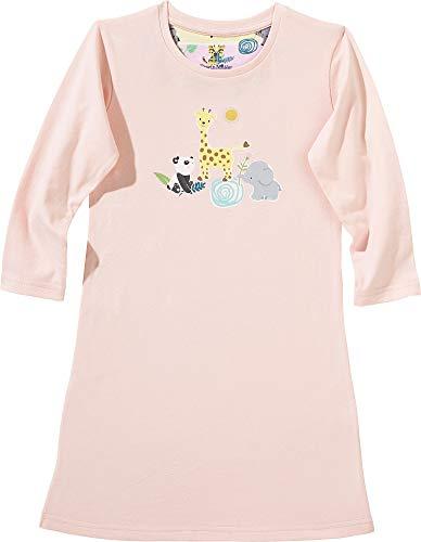Erwin Müller Kinder-Nachthemd, Nachtkleid, Pyjama, Tier-Motiv, Single-Jersey rosa Größe 86/92 - anschmiegsame, weiche Qualität, mit Rundhalsausschnitt und großem Druckmotiv