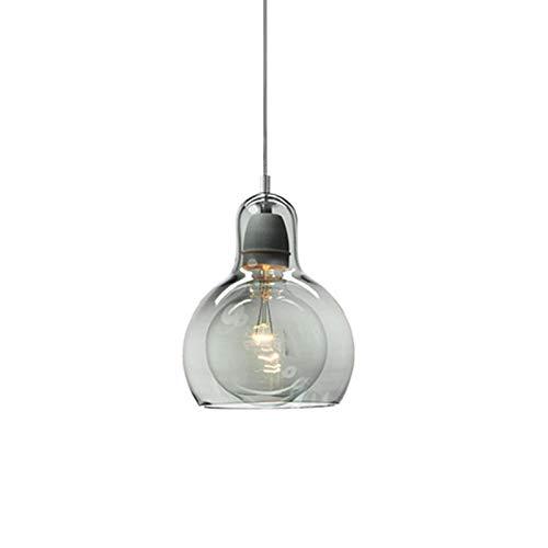 LFsem Luce Pendente Moderna Semplice Vetro Lampada da soffitto Camera da letto Sala da pranzo Lampadario per ufficio E27 Loft Lampada a sospensione (Grigio 11cm)