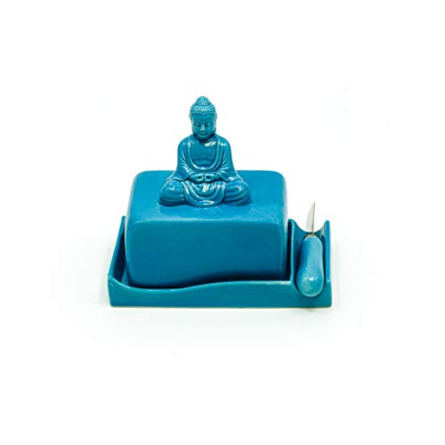 Buddha Ceramic Butter Dish Tray with Lid and Knife by Trademark Innovations (Blue)