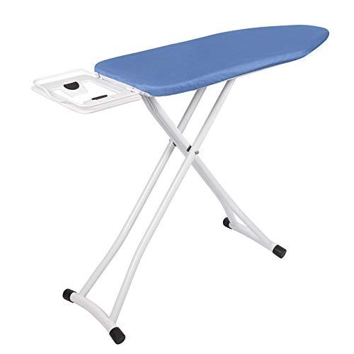 WOLTU BGT03 Bügelbrett Blau 110x30x(74-85) cm Bügeltisch für dampfbügeleisen klappbarer Tisch für Bügeln Überzug aus 100% Baumwolle Dampfbügelgeeignet Zeitsparend