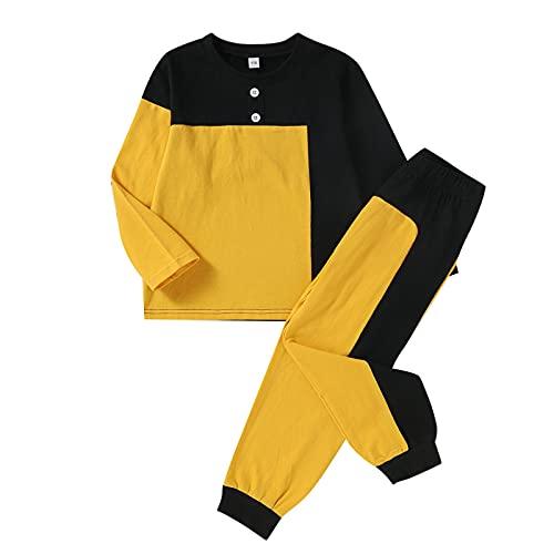 Ropa para bebés y niños pequeños, Camiseta de Manga Larga de Color Patchwork, Pantalones de chándal, 2 Piezas, Traje de chándal (Yellow, 2-3T)
