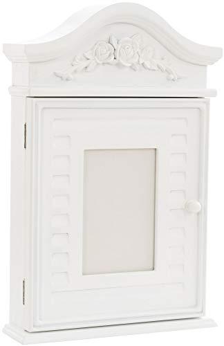 CLP Caja para llaves de estilo rústico de Skive, caja para llaves de madera, con marco de fotos y 6 ganchos, color: blanco