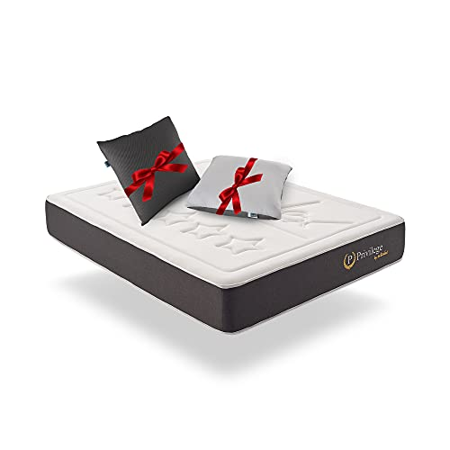 Naturalex | Privilege | Colchón 180x200 Cm Viscoelástico | Gratis 2 Almohadas Fibra 60x60 Cm Tejido 3D | Calidad de 5 Estrellas | 30 Cm de Confort | 7 Zonas de Descanso Muscular | Ultra Transpirable