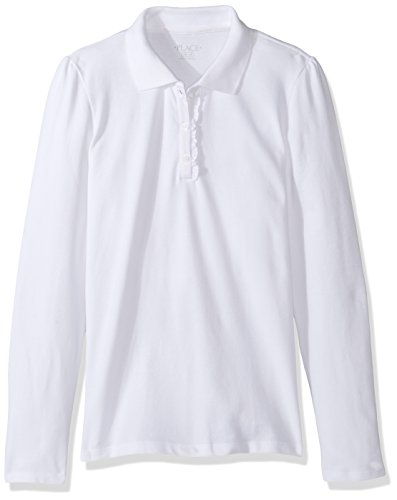 The Children's Place Little Big Girls' Long Sleeve Ruffle Polo Shirt, White, Small/5/6