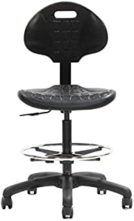"""CHAIR MASTER Drafting Stool - Easy to Clean! Ergonomic Polyurethane Chair. Seat Height Adjustable (22""""-32"""") 20"""" Adj. Footring. Heavy Duty. for Home, Automotive, Lab, Cleanroom"""