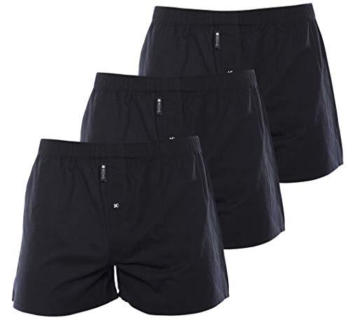 Rooxs Herren Boxershorts (3er Pack) Klassischer Schnitt, Weite Männer Unterhosen aus 100% Baumwolle (Mit Eingriff), Schwarz, S