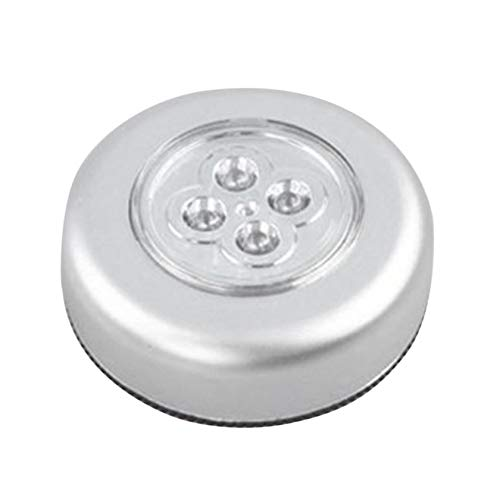 N/V 4 LED Control Night Light Round Lamp Under Closet Cupboard Push Stick On Lamp Home Kitchen Bedroom Automobile Use