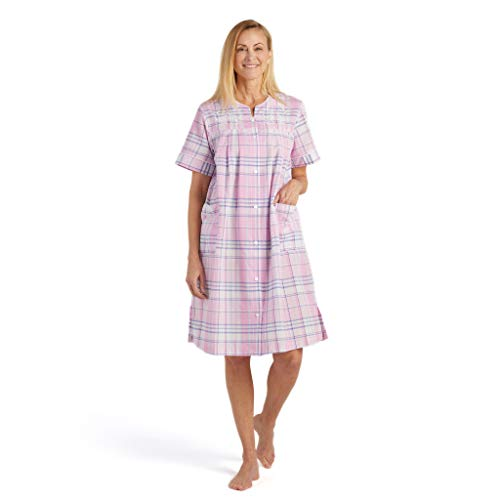 Miss Elaine Women's Seersucker Short Snap Robe - with Short Sleeves, Two Front Pockets, and Embroidery (Petite Medium, Navy/Pink Plaid)