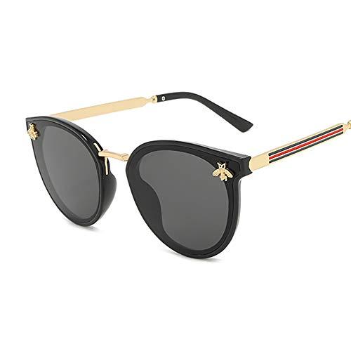 NXMRN Gafas De Sol Abeja Moda Mujer Gafas De Sol Hombres Gafas De Sol De Diseño Cuadrado Mujer Retro Hombre-Negro gris