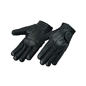Hugger Full Finger Fingerless Black Deer Soft Leather Gloves w/Gel Padded Palms – Driving, Motorcycle Riding, Police, Outdoor