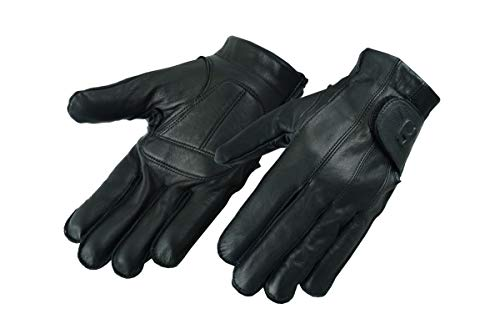 Hugger Full Finger and Fingerless Black Deer Soft Leather Gloves w/Gel Padded Palms - Driving, Motorcycle Riding, Police, Outdoor (Medium)