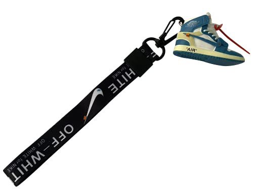 Sneaker keychain jordan 1 Hand Wrist Strap Keyring mini 3D shoe keychain scale1:6 Bag Hanging Pendant(chicago/unc) (UNC)
