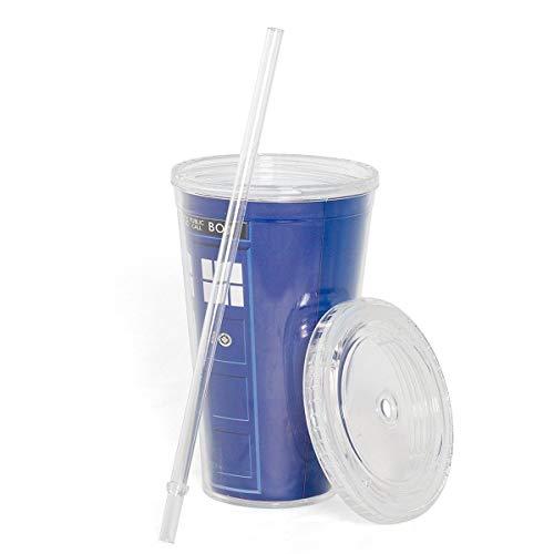 Underground Toys Doctor Who 16 oz Tardis Insulated Travel Coffee Mug with Lid & Straw