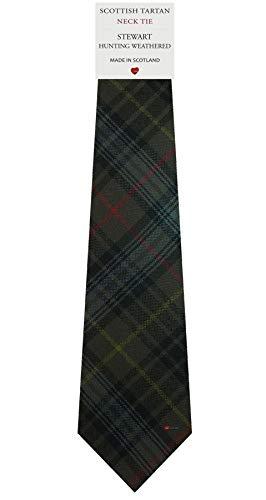 I Luv Ltd Cravate en Laine pour Homme Tissée et Fabriquée en Ecosse à Stewart Hunting Weathered Tartan