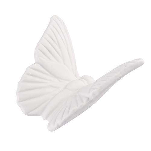 VOSAREA Mariposa de cerámica blanca adornos decorativos con forma de mariposa, figuras decorativas de pared, para colgar esculturas de pared para jardín o salón
