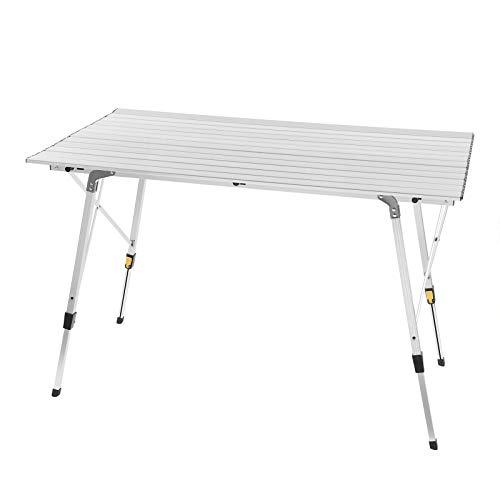 WOLTU CPT8132sb Alu Campingtisch klappbar Falttisch mit Tragetasche, Aluminium Campingtisch Reisetisch für 4-6 Personen 120 * 68.5cm, Höhenverstellbar Klapptisch für Camping Garten Balkon