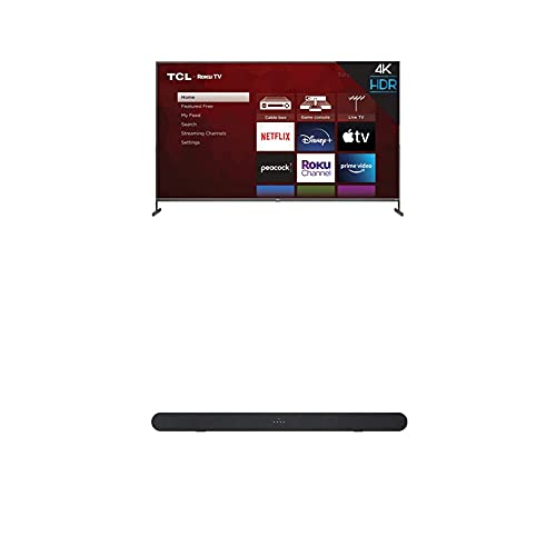 TCL 85-inch Class 4-Series 4K UHD HDR Smart Roku TV - 85S435, 2021 Model + TCL Alto 6 2.0 Channel Home Theater Sound Bar with Bluetooth – TS6100, 120W, 31.5-inch, Black (TS6100-NA)