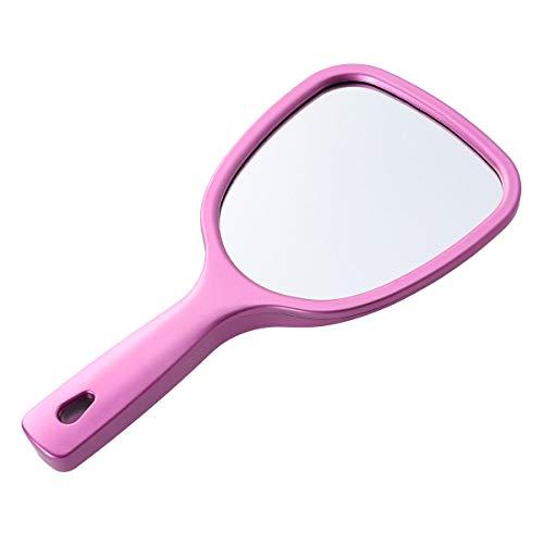 Beaupretty Handspiegel mit Griff, beidseitiger Kosmetikspiegel hinten 2-fache und 3-fache Vergrößerung, runder Spiegel (rosig)