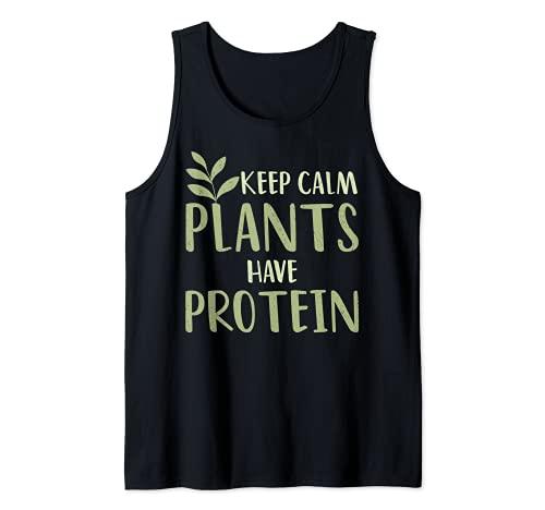 Las plantas veganas mantienen la calma tienen proteína verde nutrición alimentaria Camiseta sin Mangas
