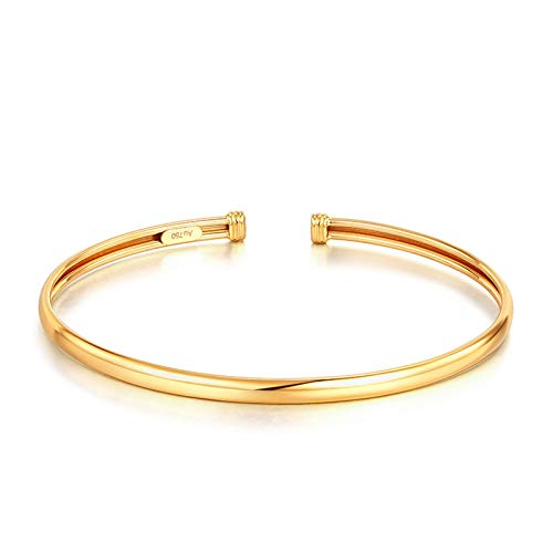 KnSam Gold Armband 750 Gold Armband 18K 18 K Gelb Gold Durchmesser 5.6cm Gold 4 Gramm Verstellbar Armband Geeignet Für Jede Größe