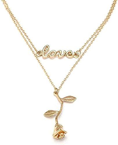ZPPYMXGZ Co.,ltd Collar de Moda Collar de Cadena de Doble Capa Collar de Gargantilla con Amor Acero para Mujer Collar con aleación de Color Dorado Colgante de Flor Joyas