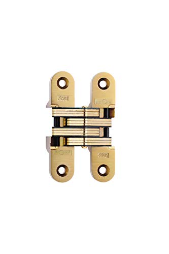 SOSS Invisible Hinge Model 216, 20 Minute Fire Rated, Zinc, Satin Brass Exterior Finish, Model Number 216US4, 14 x 1-1/2'