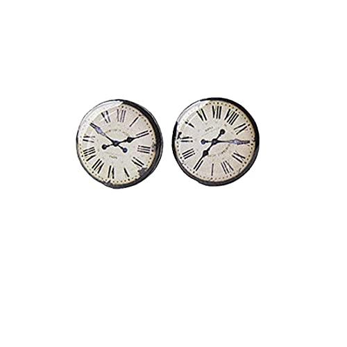 Reloj vintage - Cara de reloj - Pendientes de tuerca