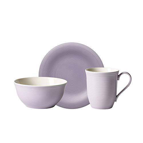 like. by Villeroy & Boch - Set de desayuno Color Loop Lilac de 12 piezas, juego de vajilla de Premium Porcelain para 4 personas, lila, apto para lavavajillas