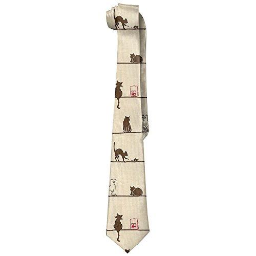WildGoose Men's Cute Cat Eat On The Line Novelty Necktie Tie Choker