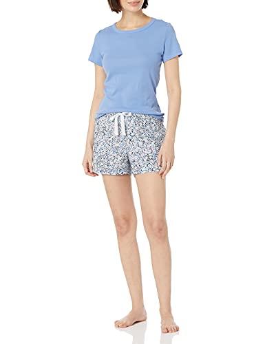 Amazon Essentials Popeline-Schlafanzug für Damen, Ober- und Unterteil, Blue Multi Floral/Cornflower, Large