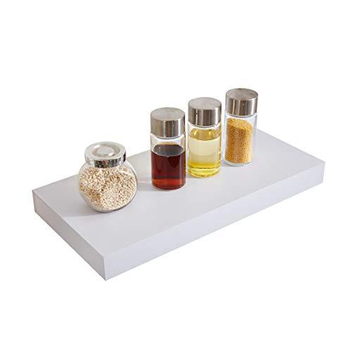 Sunon Wandregal Wandboard 40 x 20 x 3,8 cm Hängeregal, dekoratives Schweberegal für Bad, Küche, Wohnzimmer, MDF Holz (Weiß lackiert)