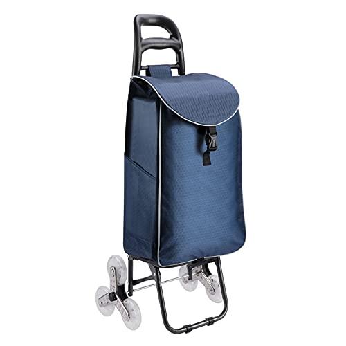 KINLO Carrello per la spesa con 3 ruote da 45 l, in cristallo, pieghevole, in acciaio con borsa Oxford impermeabile rimovibile, portata statica 70 kg